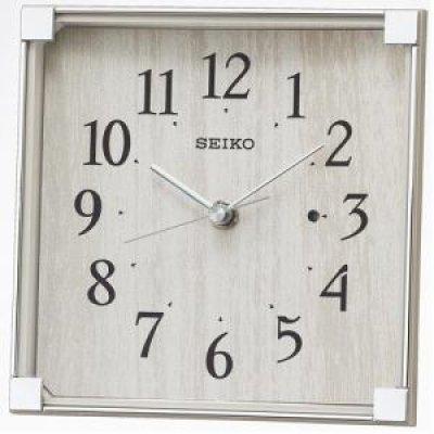 セイコークロック 電波置時計 スタンダード スイープセコンド 木目柄 プラスチック枠
